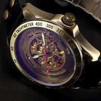 Antieke Automatische Horloges Skeleton Mechanische Horloge Mannen Brons Steampunk Retro Leather Analoge Horloges Mannelijke Vintage Klok