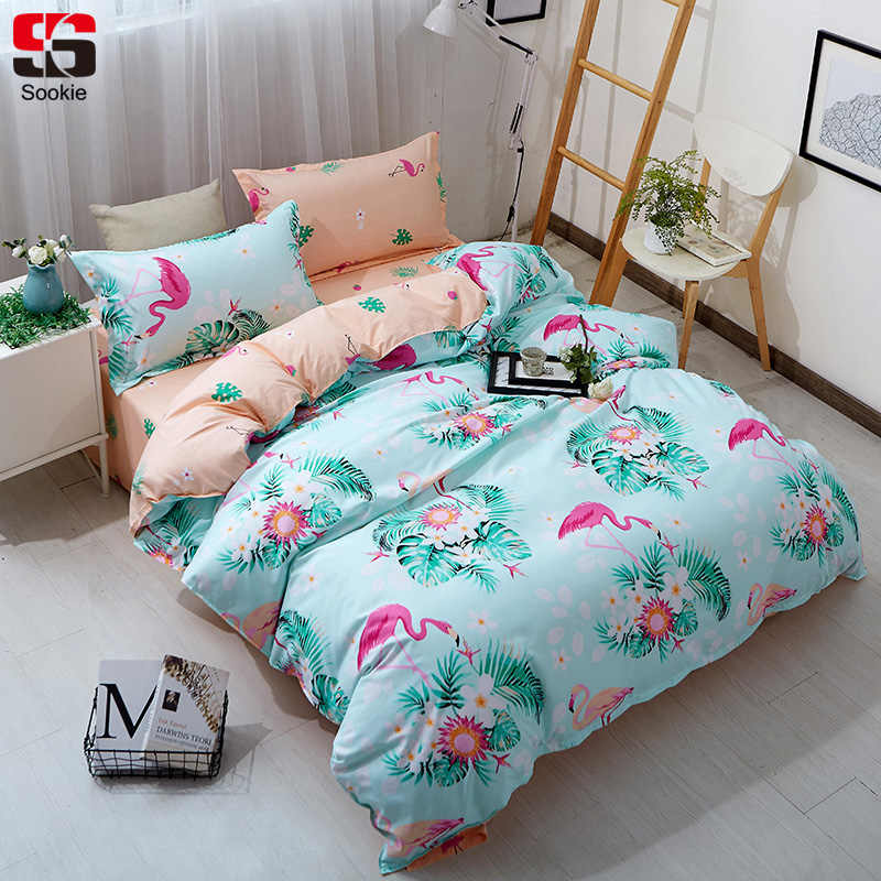 Sookie Flamingo Bedding Set Twin Full Queen King Size Duvet Cover Sets 3pcs Soft Bed Linen Qualified Floral Print Bedclothes