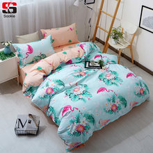 Sookie Flamingo Bedding Set Twin Full Queen King Size Duvet Cover Sets 3pcs Soft Bed Linen Qualified Floral Print Bedclothes(China)