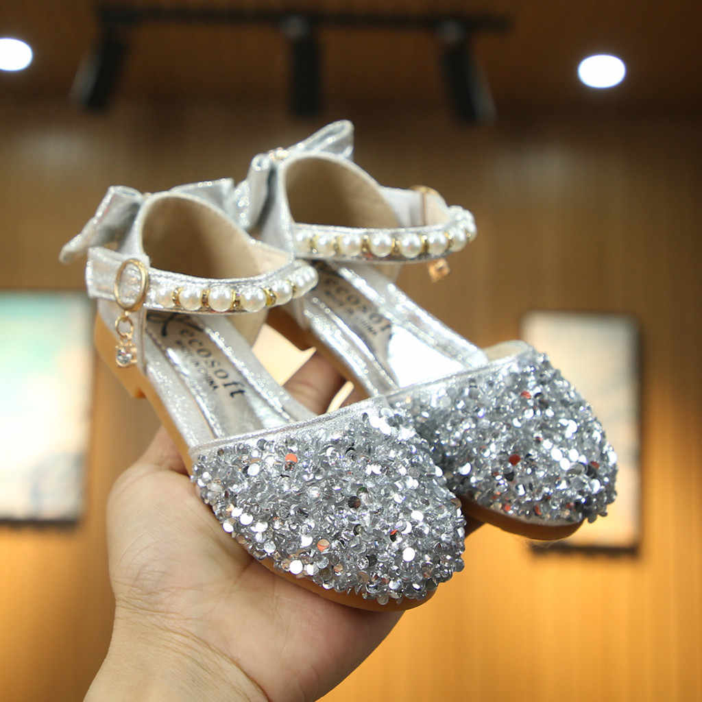 Toddler Child Kids Baby Girls Pearl Bling Sequins Single Princess Shoes Sandals