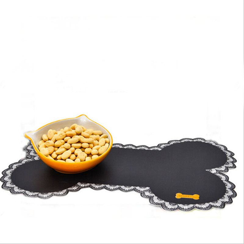 Bone-shaped Pet Feeding Mats Non-slip Pet Dogs Cats Bowl Mat Pad Food Water Bottle Feeding Placemat Pet Supplies Qw972845