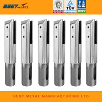 6 Pieces Square Core Drill Glass Spigot Clamps Mirror Polish Stainless Steel Duplex 2205 For Frameless
