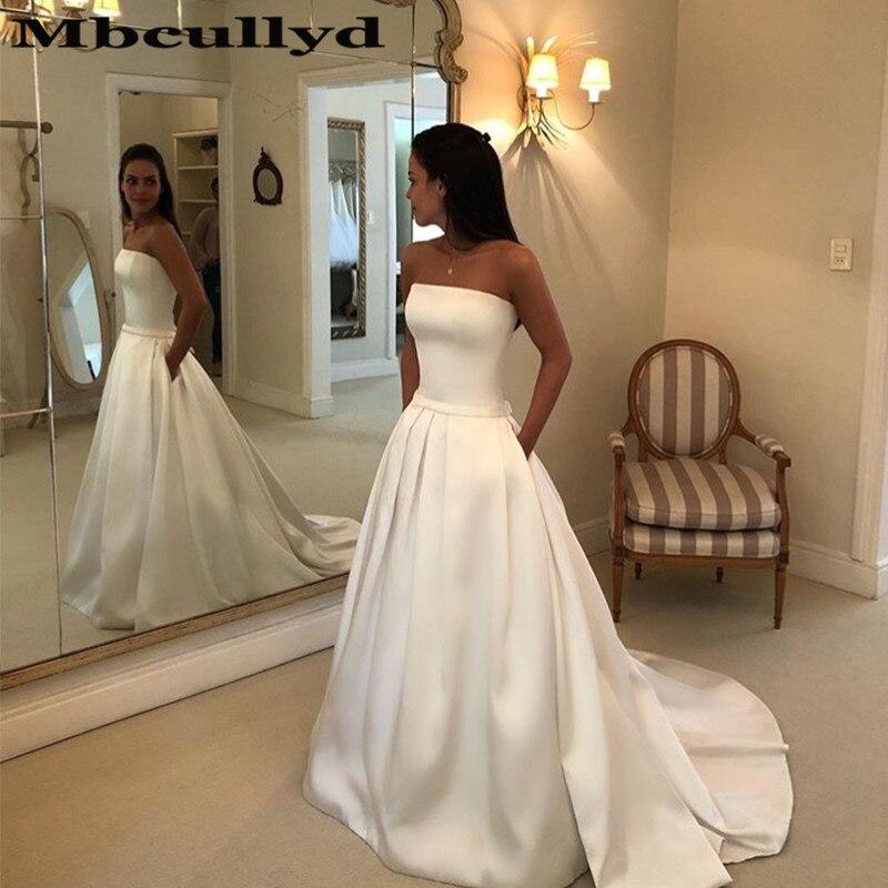 Mbcullyd Boho a-ligne robes De mariée sans bretelles Satin drapé robe De mariée arc ceintures Vestidos De Noiva avec poche pas cher vente