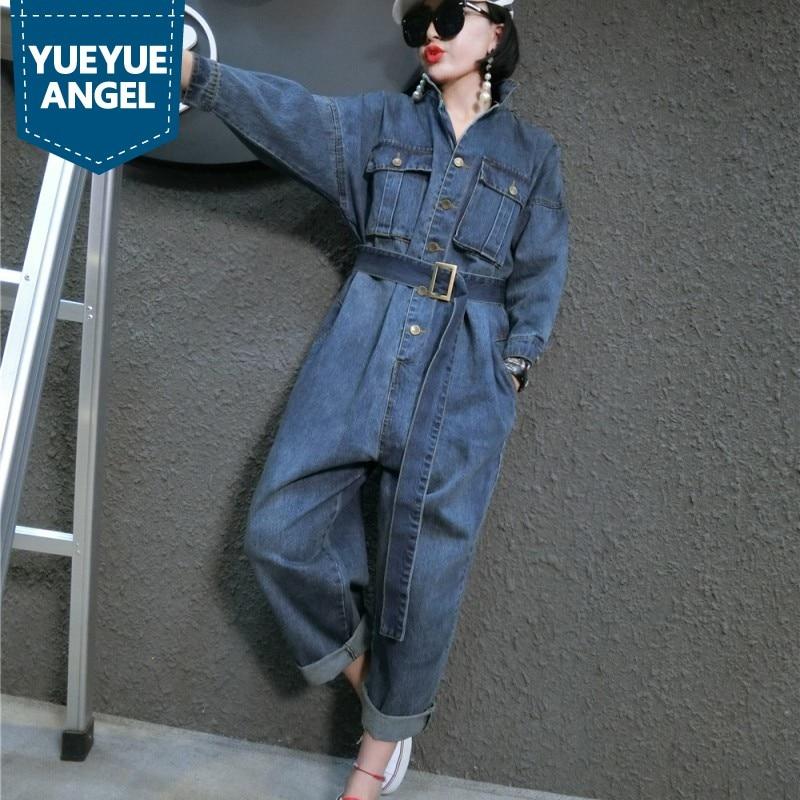 Loose Coréenne Fit xxl Salopette Combinaisons Style Grande Femmes Barboteuses Blue Casual Jean Femme Bleu Denim Ceinture Ceintures M Taille xAAqwBpS5