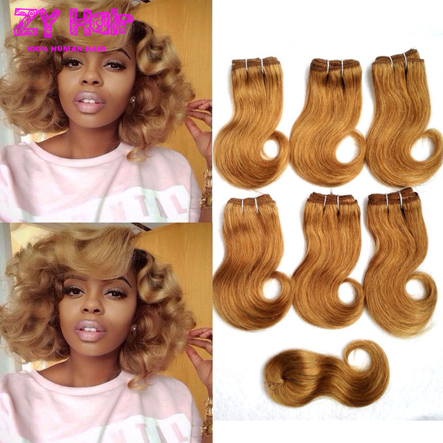 Summer Short Weave Hair With Closure 8 Inch Honey Blonde Short Hair
