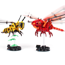 330Pcs Childrens toys Simulated Insect BEE DIY Red Dragonfly model Building Blocks Compatible Creator Bricks Kids Gift