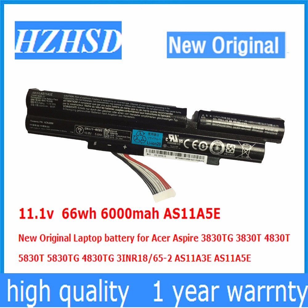 11.1v 66wh 6000mah AS11A5E New Original Laptop battery for Acer Aspire 3830TG 3830T 4830T 5830T 5830TG <font><b>4830TG</b></font> AS11A3E AS11A5E image