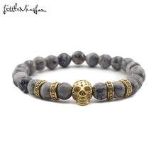 Little MingLou Stainless Steel Skull Skeleton charms natural stone beads Rock punk Stone men Bracelet & bangles for jewelry