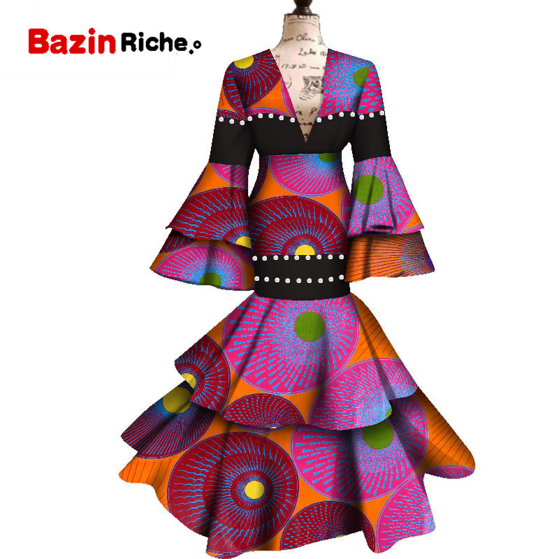 2020 African Dresses For Women Ankara Wax Fabric Long Flare Sleeve Maxi Mermaid Dress Dashiki Print Wedding/Party Dress WY4807