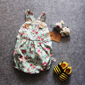 Rosa Floral Impresso Romper Do Bebê, meninas do bebê do vintage playsuit, rendas Floral printes Ganhos Romper Do Bebê