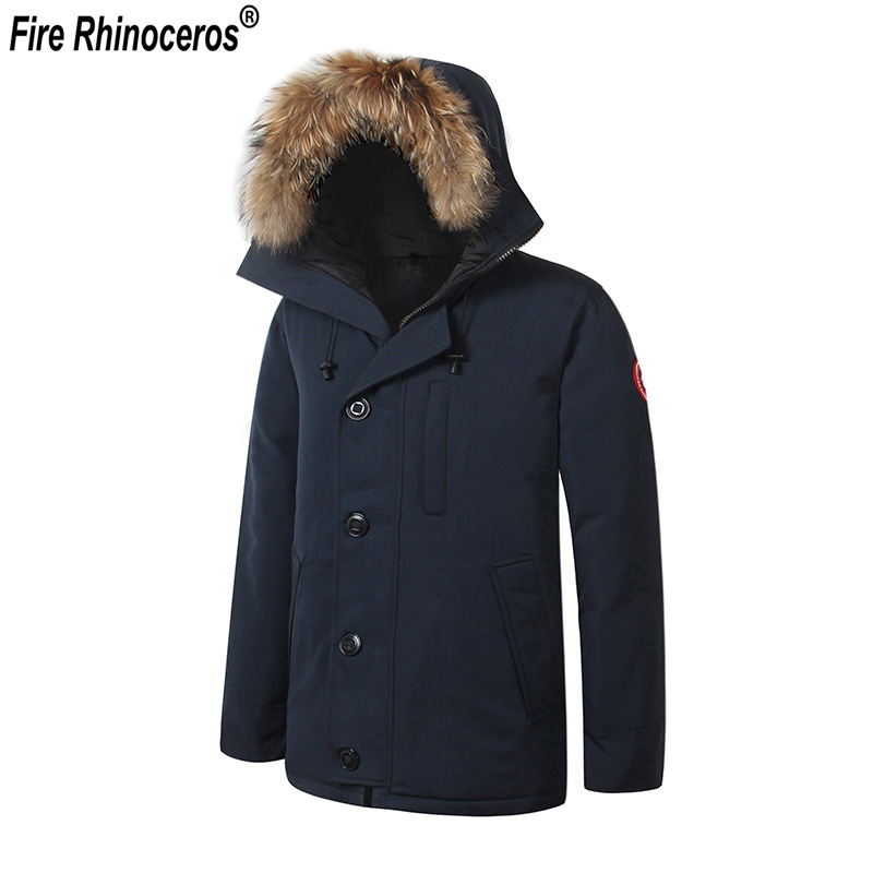 Brand New Mens Thick Winter Warm Waterproof Windstopper Real Duck Feather Down Removable Raccoon Fur CHATEAU