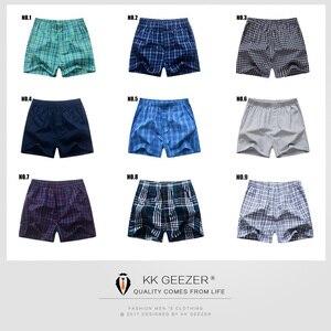 Image 5 - 3Pcs/Packag Men Boxer Plaid Underpants 100% Cotton Underwear Male Sleep Bottoms Shorts Brand Top Quality Loose Homewear Oversize