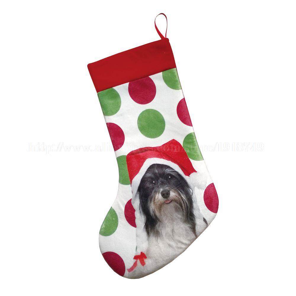 Dog christmas ornaments - 3 Pcs Lot Cute Dog With Hat Printed Customized Animal Red Stocking Big Sock Tree