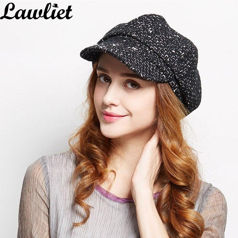 Lawliet Vintage Style Women Beret Hat Newsboy Cabbie Gatsby Hats Flat Ivy Cap Golf weed Wool blend Hat Driving Top Octagonal cap