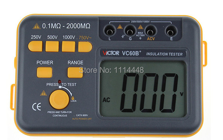 New Digital Insulation Megger Tester Meter VC60B+ 250V 500V 1000V  as907a digital insulation tester megger with voltage range 500v 1000v 2500v