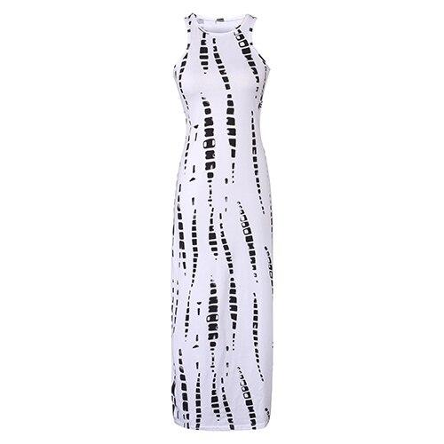 2017 Summer Dress Cut Out Red White Sleeveless Long Dress Striped Print Maxi Dresses Summer Celebrity Beach Party Dresses J3207