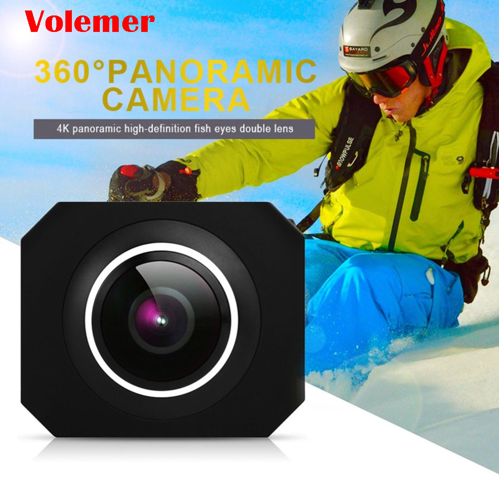 Volemer Panoramic Camera 360 Degree VR HD 4K High Resolution Wifi UHD Wide Angle Fish Eye Dual Lens Action Sports Video Camera 360 camera hd panoramic mini camera wide dual angle fish eye lens action camera 3040 1520 usb sport