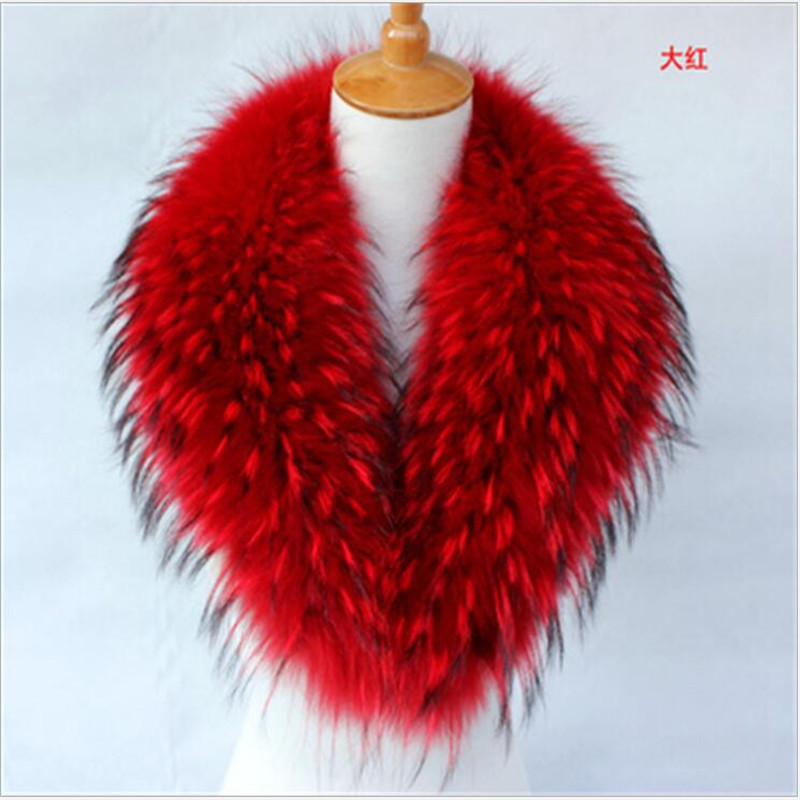 ФОТО NEW 2017 Real Raccoon fur Collar for Coat Jacket Autumn Winter Warm Fur Scarf Shawl for Outerwear Coat Super Fur Collar PM55