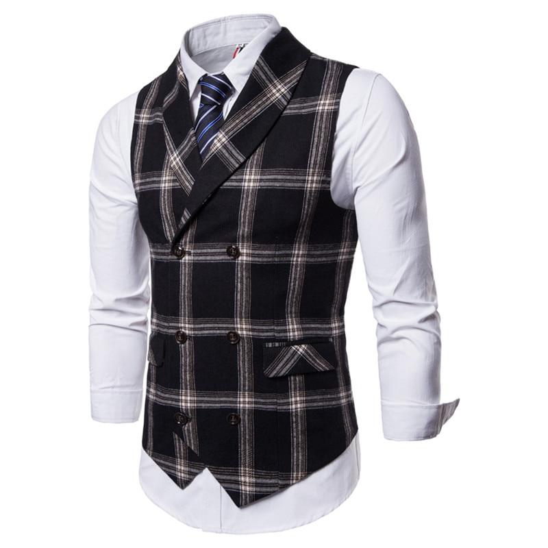 Riinr, новинка, приталенный мужской жилет, повседневный костюм, жилет для мужчин, Клетчатый Стиль, для мужчин, Chalecos Hombre, деловая одежда, жилет без рукавов, жилет
