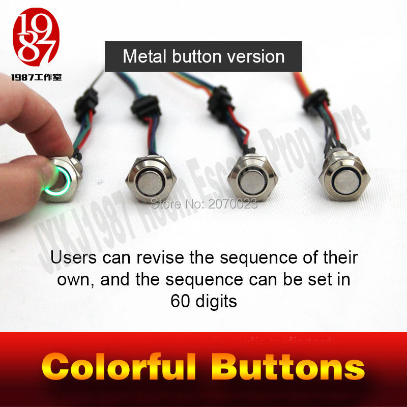 Props For Takagism Game Real Life Escape Room Prop,  Four Color Buttons For Escape Secret Chamber Room Four Magic Metal Buttons