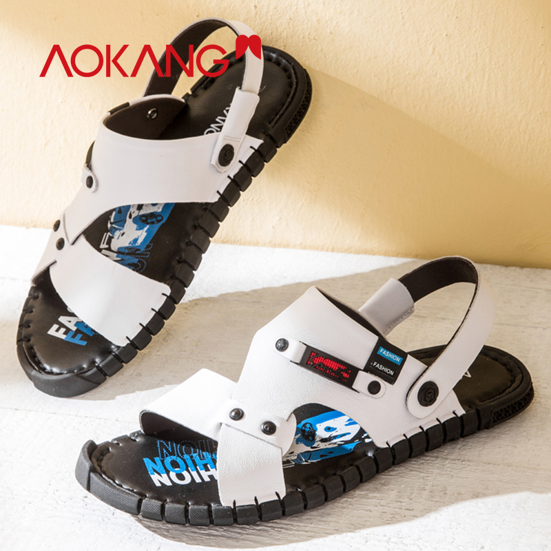 AOKANG 2019 Men sandals genuine leather high quality men sandals slippers comfortable fashion beach shoes casual