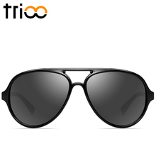 TRIOO Mens Sunglasses Black Cool Sun Glasses For Men  Glossy Farme Oculos de sol masculino Pilot Designer Shades
