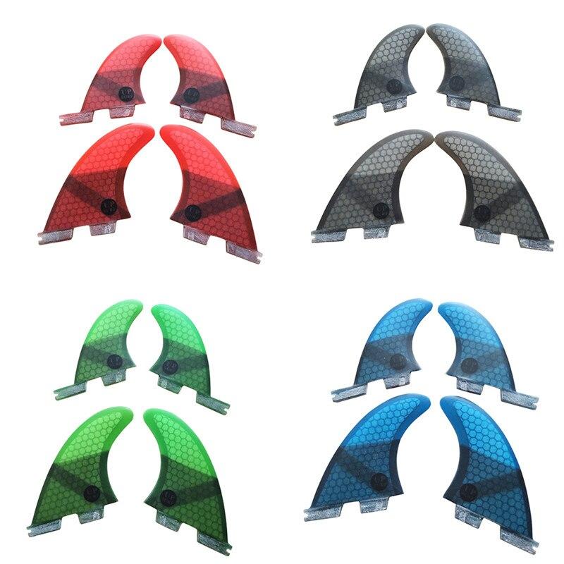 Surfboard FCS2 G5+GL fins Black/Blue/Red/Green color Honeycomb Fibreglass fin Quad fin set