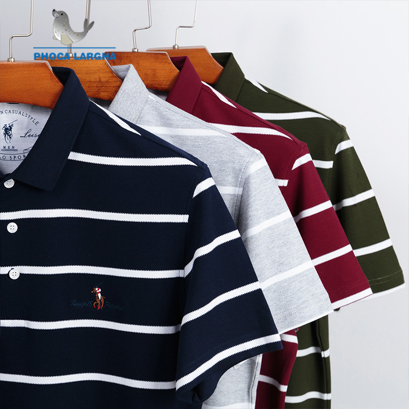 New Striped   Polo   Shirts Men 3D Embroidery Summer Short Sleeve For Man Slim Fit Cotton Casual Camisa   Polos   hombre Masculina