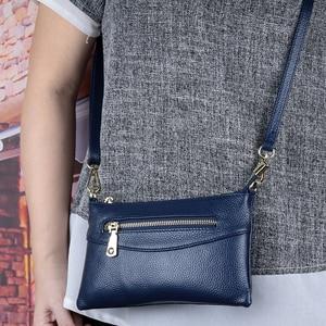 Image 1 - Luxury Zipper Blue/Red/Black/Gray Clutch Women Messenger Handbags Genuine Leather Women's Shoulder Purse Fashion Small Bags