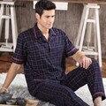 2016 NOVOS Pijamas de Algodão Set Para Os Homens de Manga Curta Calças de Pijama Sleepwear Homens Salão Conjunto de Pijama Plus Size M-4XL