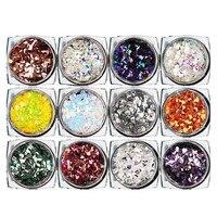 12 коробка алмазы Ослепительная советы ногтей Стикеры Блёстки красочные Дизайн ногтей украшения