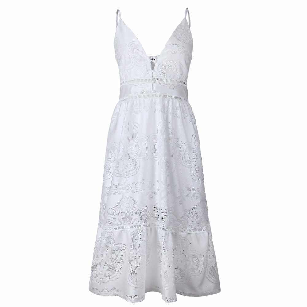 Сарафан 2018 Летнее белое кружевное платье женское сексуальное платье с v-образным вырезом вязанное крючком открытое пляжное платье-туника