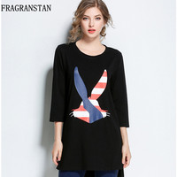 Women Spring Autumn New Fashion Large Size Casual T Shirts Print Loose Round Collar Slim All