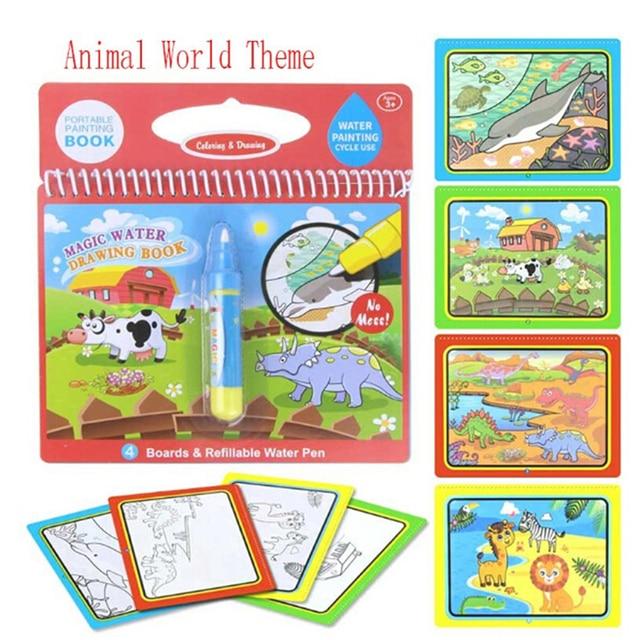 1 tablero de dibujo de pintura para niños juguetes de agua mágica libro de dibujo de cumpleaños regalo Montessori libro de colorear Doodle y pluma mágica