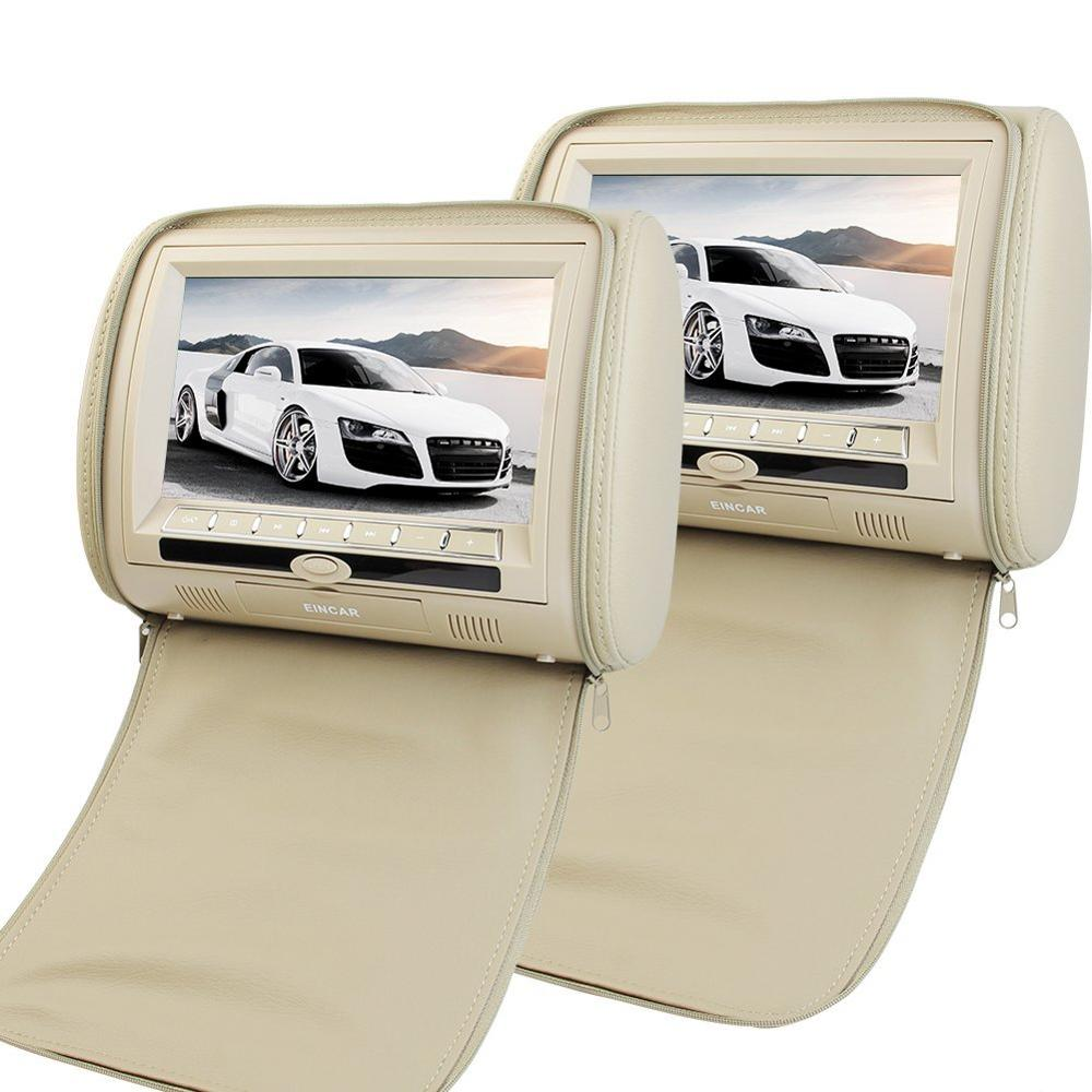 9-inch Universal Car Headrest Video Player Beige Zipper Cover Digital Screen Dual DVD Player with Wireless Remote Control x 2 2 x 9 inch digital display screen headrest dvd player beige car headrest video player support usb sd ir fm transmitter remote
