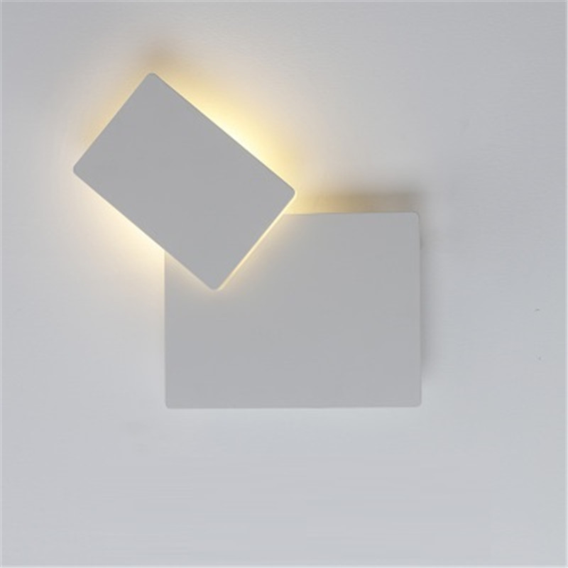 Creative rectangle 360* adjust wall lamp for living room Bedroom bedside Corridor Aisle Stairs Balcony 220v 110v black white small child wall lamp for living room bedroom creative bedside lamp corridor aisle stairs balcony white black red 220v 110v