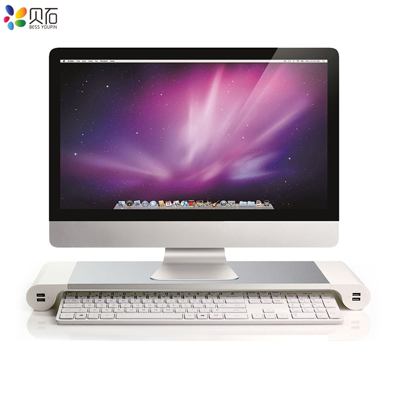 Portable 4 Ports USB Laptop Computer Monitor Stand PC Monitor Holder Notebook Desktop Mount Non-slip Holder for MacBook Pro/Air