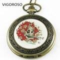 Men's Brozen Classic Watch Steampunk Roman Dial Skull Mechanical Skeleton Men's Collection Pocket Watch