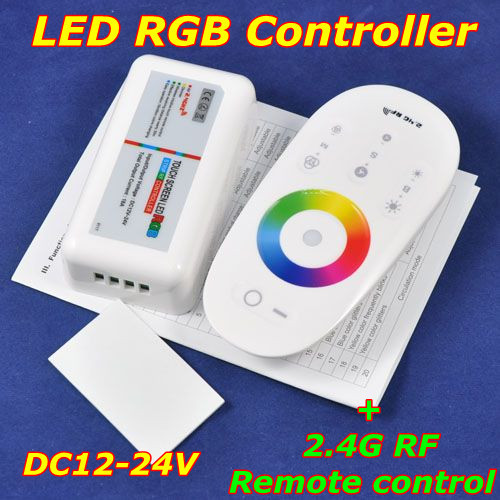 Airmail shipping, DC12-24V,LED touch screen RGB controller with 2.4G RF remote control for rgb led strip/bulb/ceiling,Retail
