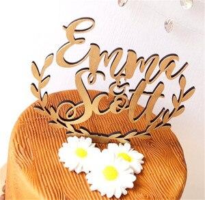 Image 3 - Персонализированные имена, Топпер для свадебного торта, деревянный деревенский Топпер для свадебного торта, акриловый Топпер для торта на заказ
