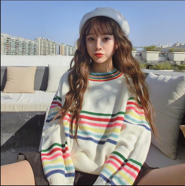 Preppy Style College Womens Fashion Casual Loose Pullovers Rainbow Stripe Knitted Christmas Sweater