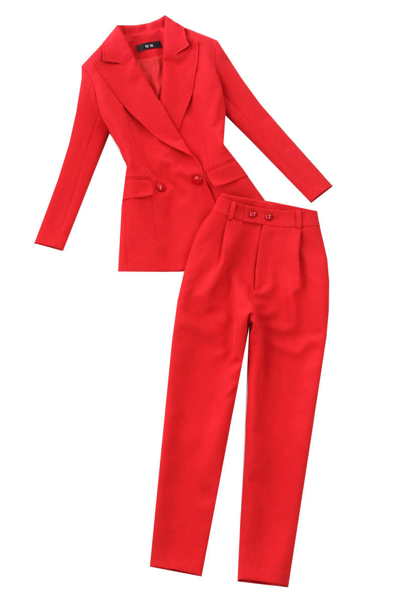 d7f9a85de8c ... Plus size women's 2019 spring and summer red waist double-breasted suit  + high waist