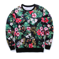 Recommend 2018 New Men Women Hoodies 3D Fashion Flower Printed O Neck Pullover Funny Hoodies S