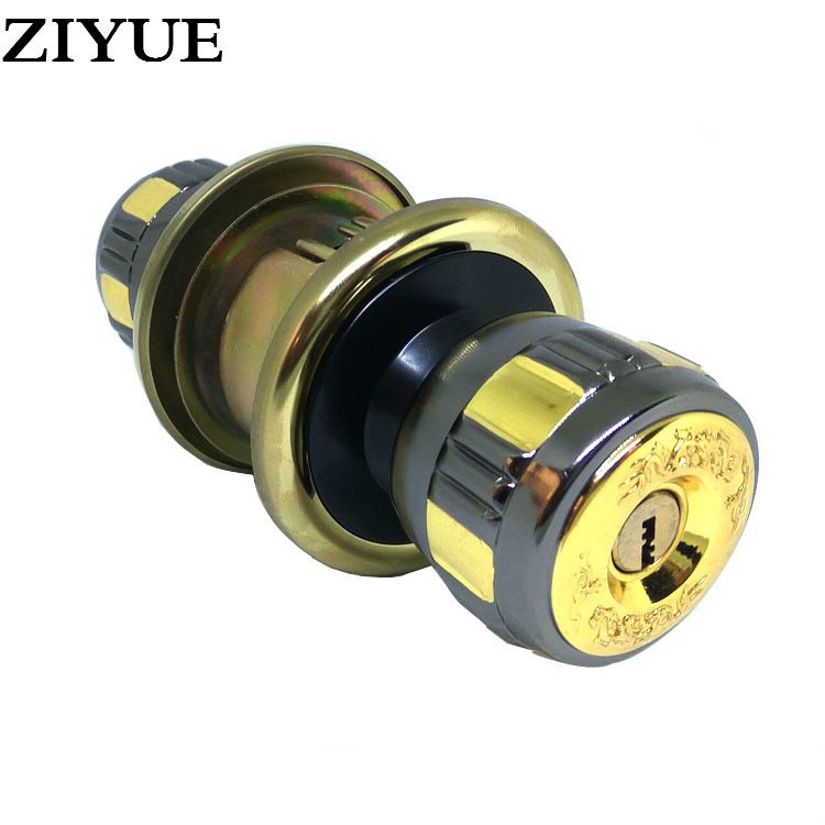 Free Shipping Zinc Alloy Black Ball Lock Chamber Wood Door Lock Copper Lock Core Gun Black Plus Gold Color