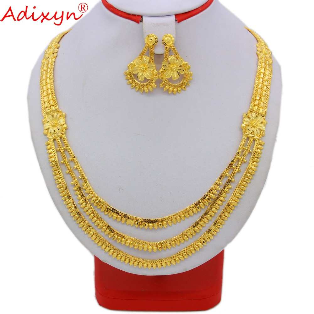 купить Adixyn India Pliability Necklace/Earrings Jewelry Sets For Women Gold Color Ethiopian/African Engagement Gifts N091610 недорого
