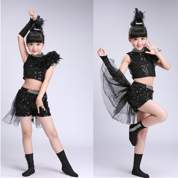 Kids Black Sequined Hip Hop Jazz dance Suit Kids Competition costumes Clothes Children Ballroom Dancing Stage clothing Outfits boys modern jazz dancewear outfits kids hip hop party ballroom dance costumes sweatpants hoodie costumes tracksuit outfits
