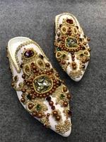 Женщина Туфли без каблуков в стиле ретро Строка из бисера Комнатные шлепанцы дизайнер острый носок женские Туфли без каблуков вышивка Geml пл