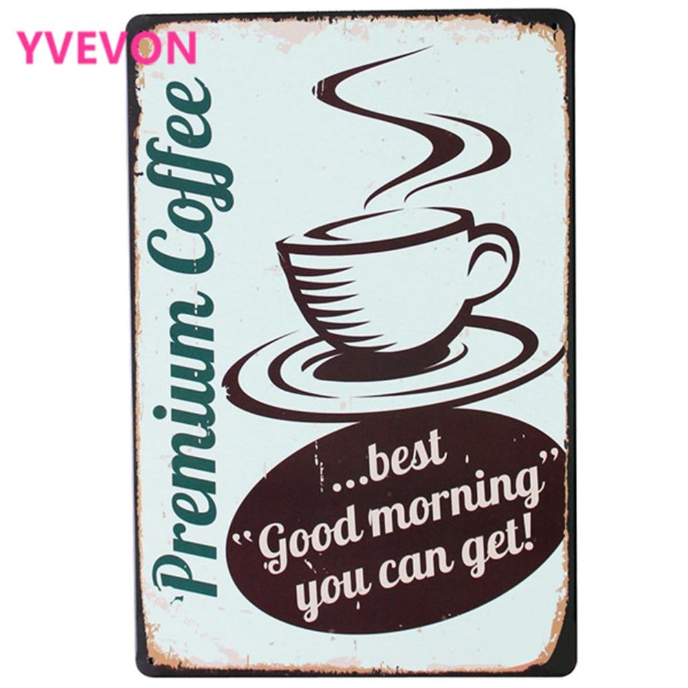 Prémiová káva Kovová cínová výzdoba Znamení Vintage Cafe Plaque Holiday Plate na čas na čaj v butikové kuchyni v kuchyni SPM15 20x30cm