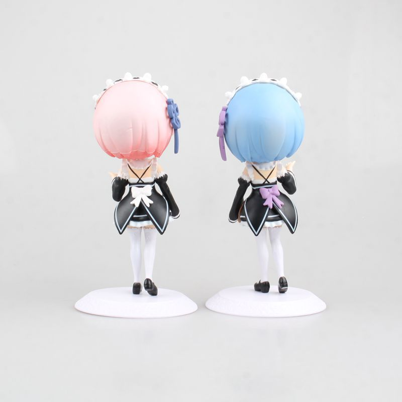 2pcsset Anime Re:Life in a different world from zero Q-version big eye doll Rem and Ram PVC Action Figure Collectible Model Toy