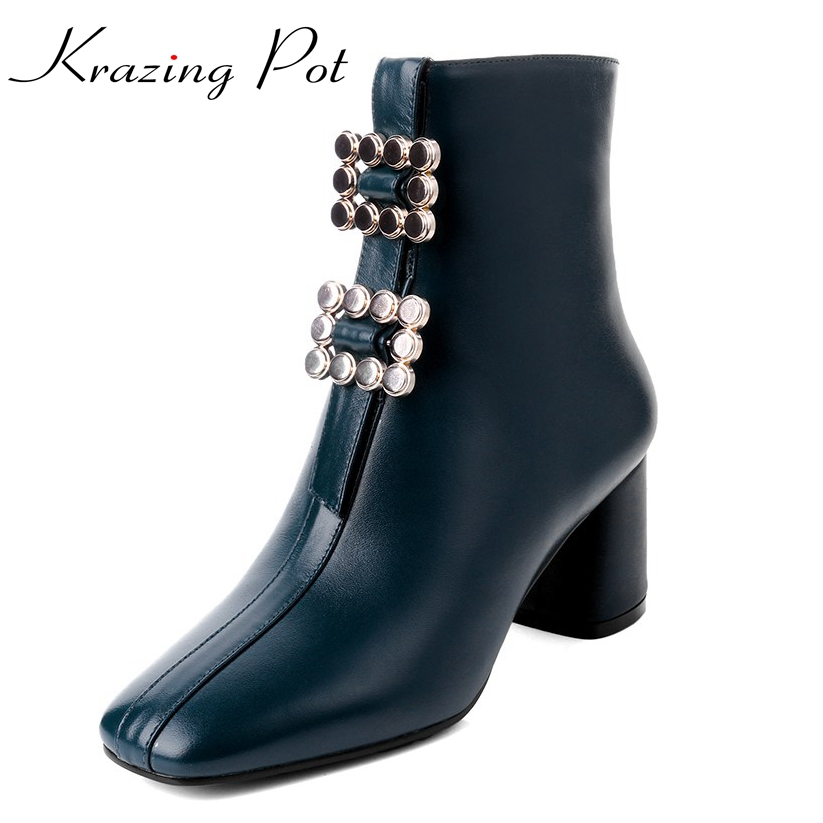 Krazing Pot genuine leather square toe thick heels metal buckle decoration solid women punk handsome superstar ankle boots L11 2018 fashion genuine leather metal buckle mixed colors thick heels superstar winter boots round toe women mid calf boots l99